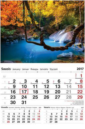 """2017 metų sieninis kalendorius su žymekliu """"Gamta"""""""