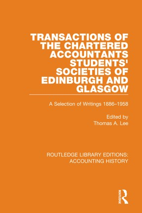 Transactions of the Chartered Accountants Students' Societies of Edinburgh and Glasgow