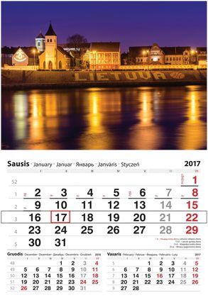 """2017 metų sieninis kalendorius su žymekliu """"Kaunas"""""""
