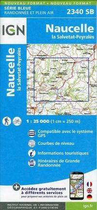 Naucella la Salvetat 1 : 25 000 Carte Topographique Serie Bleue Itineraires de Randonnee