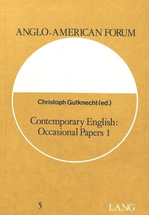 Contemporary English: Occasional Papers 1