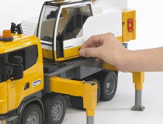 BRUDER sunkvežimis kranas scania geltonas, 03570