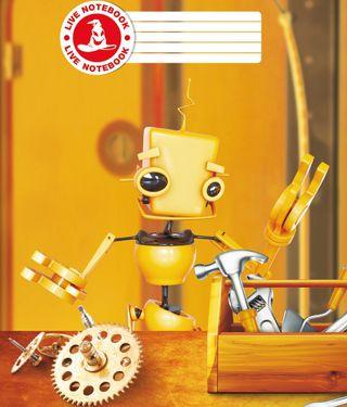 Atgyjantis 4D sąsiuvinis Robotukas (1 kl., langeliais, 12 l.)