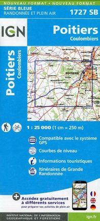 Poitiers - Coulombiers 1 : 25 000 Carte Topographique Serie Bleue Itineraires de Randonnee