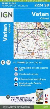 Vatan Charost 1 : 25 000 Carte Topographique Serie Bleue Itineraires de Randonnee