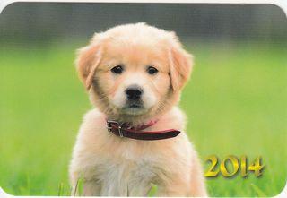 2014 metų kišeninis kalendoriukas su šuniuku