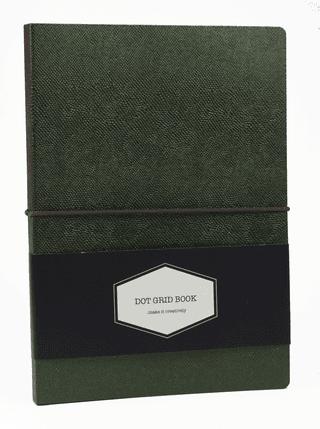 DOT GRID užrašinė Chameleon (žalia): išskirtinio dizaino aukštos kokybės užrašinė su lanksčiu ypatingos tekstūros spalvą keičiančiu viršeliu, puslapiais taškeliais ir gumele