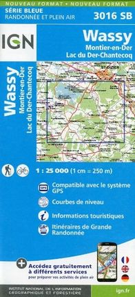 Wassy Montier en Der Lac du Der Chantecoq 1 : 25 000 Carte Topographique Serie Bleue Itineraires de Randonnee