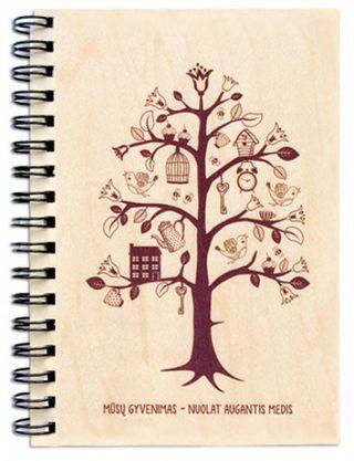 """Užrašų knygelė mediniais viršeliais """"Gyvenimo medis"""""""