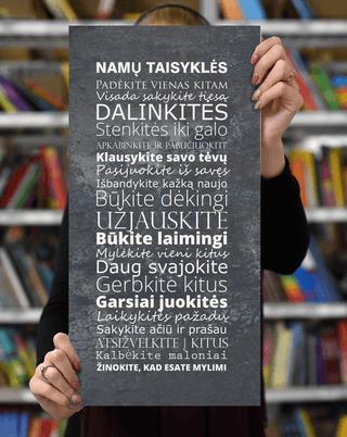 Laimingų namų taisyklės, pilka, 25 x 50 cm