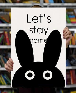 "Laimingų namų taisyklės ""Let's stay home"", 60 x 40 cm"