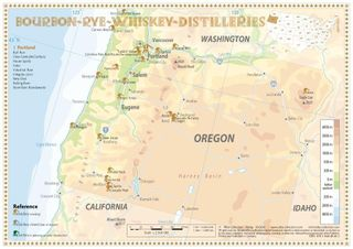 Bourbon-Rye-Whiskey Distilleries in Oregon - Tasting Map 34x24cm