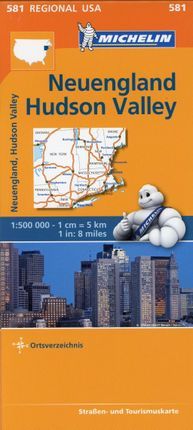 Michelin Regionalkarte New England, Hudson Valley 1 : 500 000