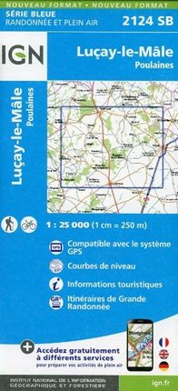 Lucay le Male Poulaines 1 : 25 000 Carte Topographique Serie Bleue Itineraires de Randonnee