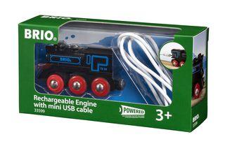 BRIO RAILWAY traukinys su pakraunamu varikliu ir USB kabeliu, 33599