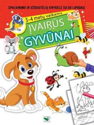 Įvairūs gyvūnai: spalvinimo ir užduotėlių knygelė su lipdukais 3–4 metų vaikams