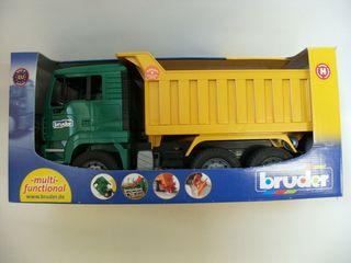 BRUDER sunkvežimis žalias su geltona priekaba, 02765