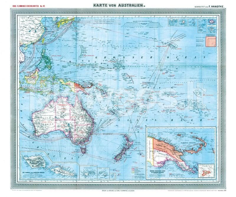 Karte Von.Knyga General Karte Von Australien Und Der Südsee 1903 Plano