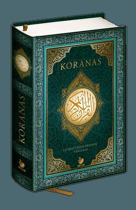 KORANAS: Šventoji Islamo knyga - pakoreguotas literatūrinis prasmių vertimas, patvirtintas Muftiato. Naujas riboto tiražo kolekcinis leidimas prabangiu viršeliu su aukso spalvos detalėmis ir medžiagine juostele