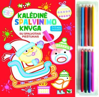 Kalėdinė spalvinimo knyga su spalvotais pieštukais 3-5 m. vaikams