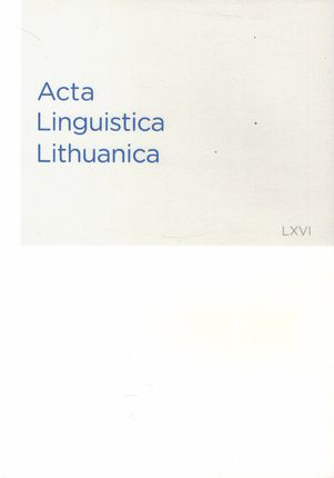 Acta Linguistica Lithuanica 66 (LXVI)