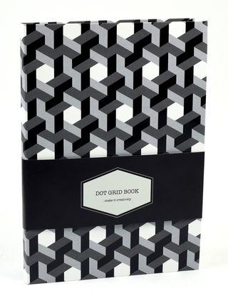 DOT GRID užrašinė Ornamental (juoda-balta): išskirtinio dizaino aukštos kokybės užrašinė su lanksčiu viršeliu, puslapiais taškeliais ir juostele-skirtuku