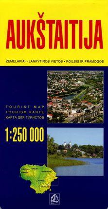 Aukštaitija. Žemėlapiai, lankytinos vietos, poilsis ir pramogos. M 1:250 000