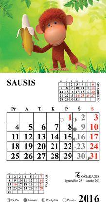 """2016 metų kalendorius su magnetu """"Beždžionėlė"""""""