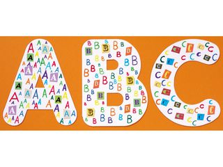 Balto kartono didžiosios raidės, 26 vnt., 23 cm