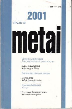 2001 metai. Literatūra, kritika, eseistika