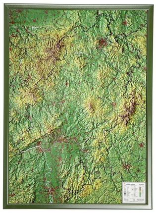 Hessen Gross 1:350.000 Reliefkarte mit Holzrahmen