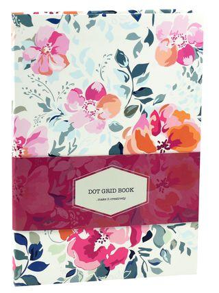 DOT GRID užrašinė Ornamental (gėlės): išskirtinio dizaino aukštos kokybės gėlėta užrašinė su lanksčiu viršeliu, puslapiais taškeliais ir juostele-skirtuku