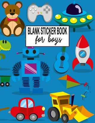 Blank Sticker Book for Boys: Sticker Album, Sticker Activity Book for Kids Large 8.5 X 11