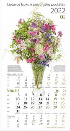 """2022 m. sieninis kalendorius """"Lietuvos laukų ir pievų gėlių puokštės"""""""