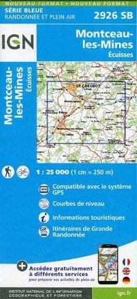 Montceau les Mines Ecuisses 1 : 25 000 Carte Topographique Serie Bleue Itineraires de Randonnee
