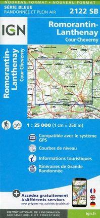 Romorantin Lanthenay Cour-Cheverny 1 : 25 000 Carte Topographique Serie Bleue Itineraires de Randonnee