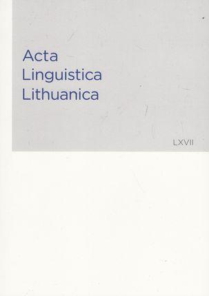 Acta Linguistica Lithuanica 67 (LXVII)
