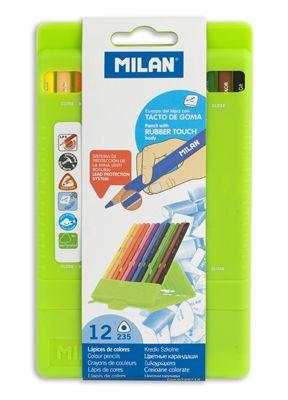 Spalvotų gumuotų trikampių pieštukų rinkinys MILAN, 12 sp. su dėžute– stovu