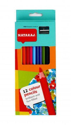 Spalvoti pieštukai NATARAJ, 12 sp., su drožtuku