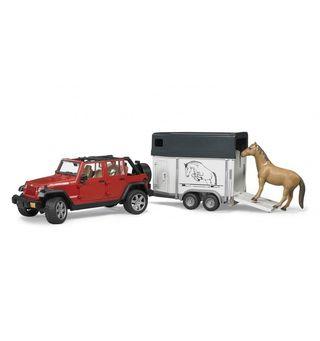 BRUDER džipas Wrangler su arklių priekaba ir arkliu, 2926
