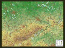 Reliefkarte Sachsen Gross 1 : 325.000 mit Rahmen