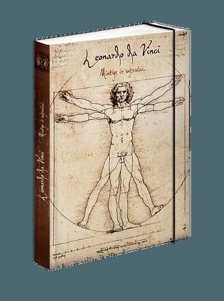 LEONARDO DA VINCI: knygutė su garsiausio visų laikų Renesanso išradėjo citatomis - puslapiai linijomis + gumelė, patogiai ir saugiai prilaikanti Jūsų knygutės puslapius