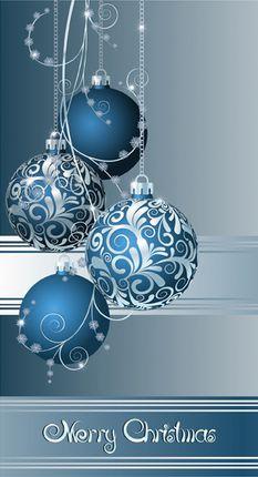 Kalėdinis sveikinimo atvirukas su voku (mėlyni žaisliukai)