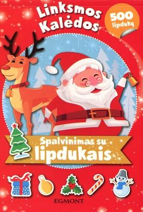 Linksmos Kalėdos: spalvinimas su lipdukais