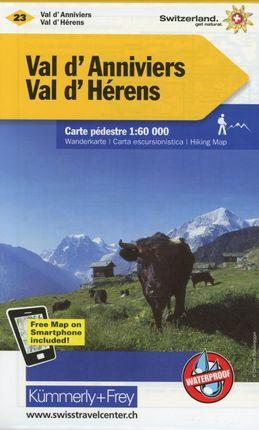 KuF Schweiz Wanderkarte 23 Val d' Anniviers, Val d' Hérens 1 : 60 000