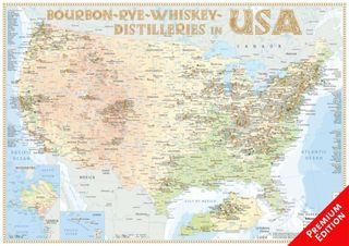 Bourbon-Rye-Whiskey Distilleries in USA - Poster 60x42cm - Premium Edition