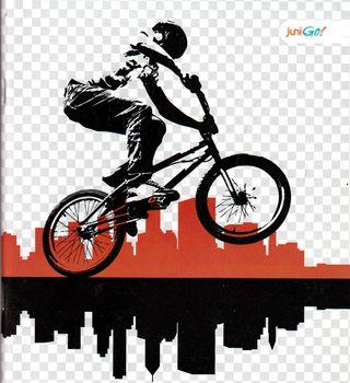 48 lapų sąsiuvinis langeliais (dviratininkas)
