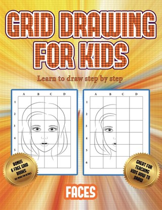 Learn to draw step by step (Grid drawing for kids - Faces)