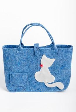 Veltos vilnos rankinė (mėlyna, balta katė)