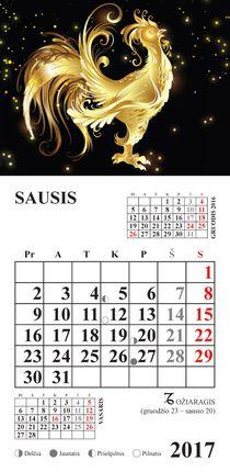 """2017 metų kalendorius su magnetu """"Gaidžio metai"""""""